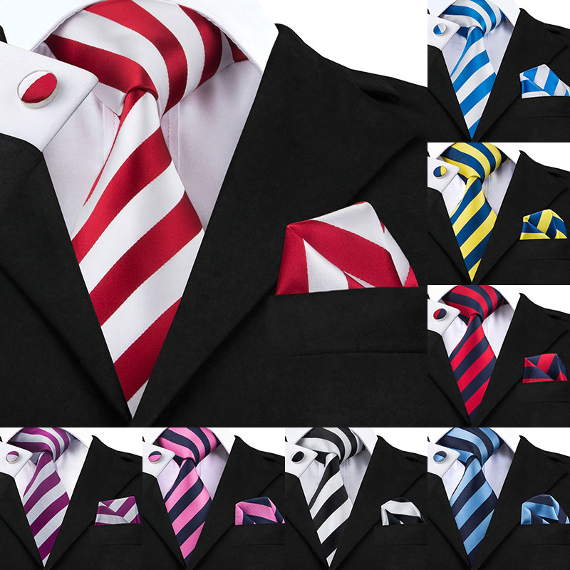 1bc5cbdab0dc New Hot Selling White Red Striped Tie+Hanky+Cufflinks Set Men s 100% Silk