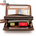 Brand Men Wallet Leather Men's Business Long Wallet Purse Double Zipper Male Wallets Clutch Men Handy Bag