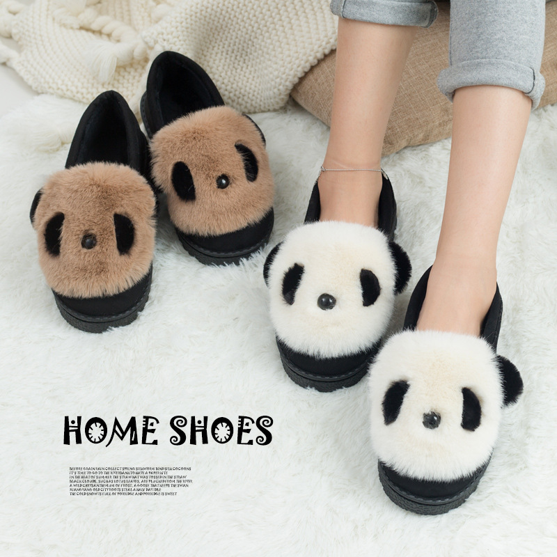 Panda Winter Outdoor & Indoor Slippers Women Home Shoes Soft Plush Slides Slipper Female Cute Flip Flops Flat Basic Shoes BVT38