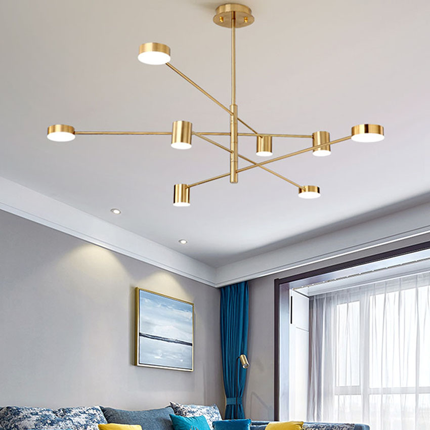 Nordic Living Room Decor Pendant Lamps Gold Black Modern Led Suspension Luminaire Dining Room Bedroom Chandelier Light Fixture