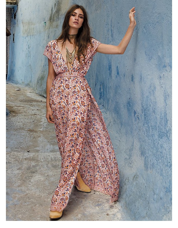 Floral Boho Maxi Dress Side Slits Bohemian Back Tie Up Hollow Out Long Beach Dress Summer Women Vintage Deep V Neck Sexy Vestido viven leigh boho floral print long dress retro bohemian maxi dress sexy ethnic deep v neck beach dresses hippie robe