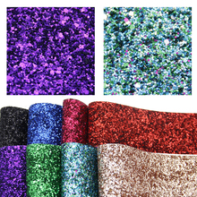 David accessories 8pcs/set 20*34cm Chunky Glitter Faux Synthetic Leather Fabric, DIY Decorative Hairbow Bag Shoes Crafts,1Yc6619