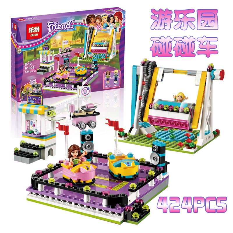 Lepin Friends Bumper Cars Amusement Park Minifigures Building Block Girl Compatible with 41133 Toy Christmas Gifts