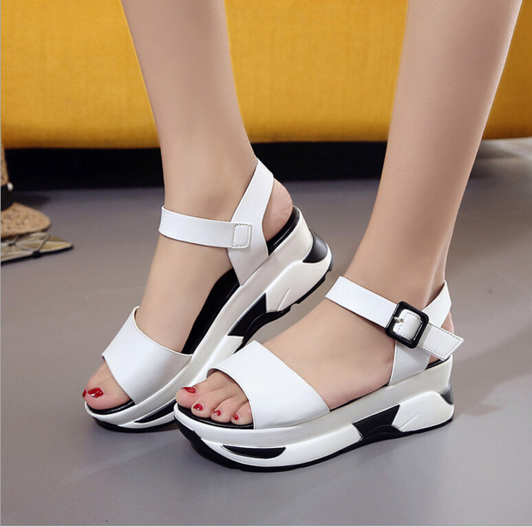 women shoes new 2017 han edition women wedge sandals fashion summer casual platform bottom thick heels sandlias femme  han edition diamond thick bottom female sandals 2017 new summer peep toe fashion sandals prevent slippery outside wear female
