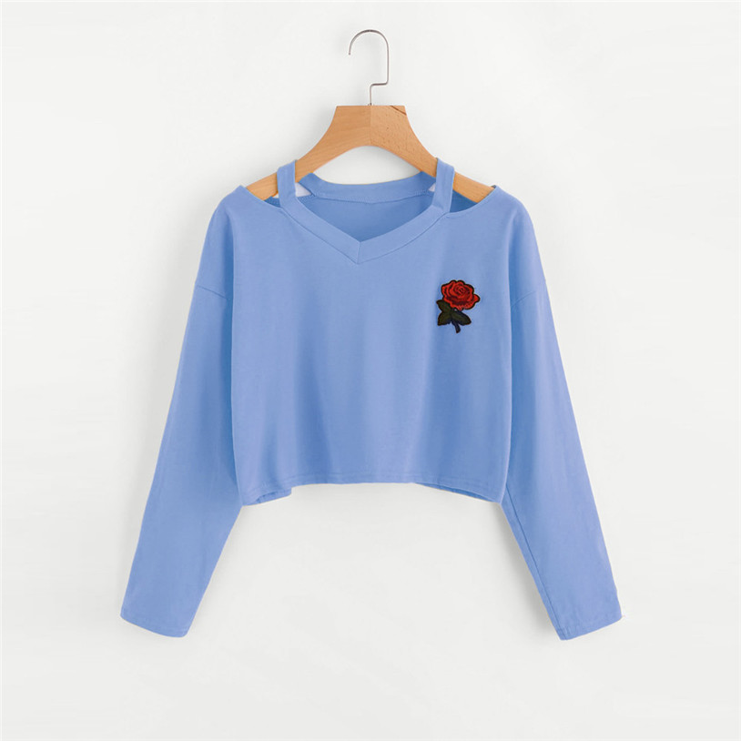 Humor 2017 Autumn Rose Flower Printed Polyester Long Sleeve Blouse Women V-neck Collar Cotton Shirts White Women Clothes #xo5450 Driving A Roaring Trade Women's Clothing