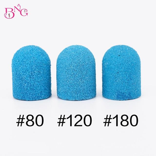BNG 5pcs 10*15mm Hot Sell Pink Blue Nail Art Sanding Caps Bands Manicure Pedicure Nail Tools File For UV Gel Acrylic Polishing 2