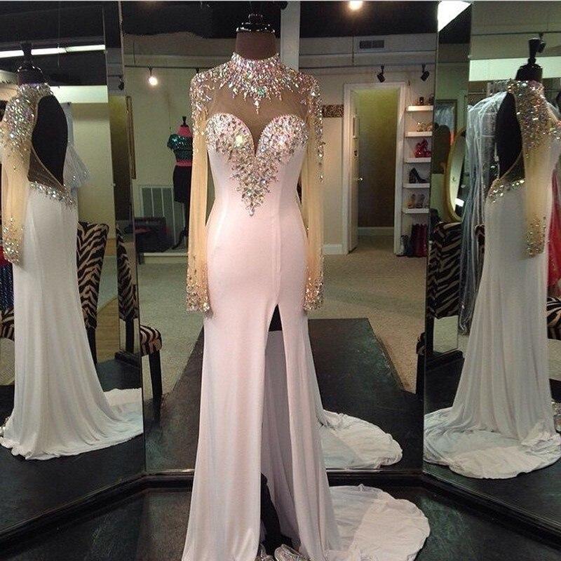 vestido de festa Sparkly Beaded Long Sleeve White   Prom     Dresses   2018 Open Back Formal Ebening   Dresses   Sexy High Nick Side Slit