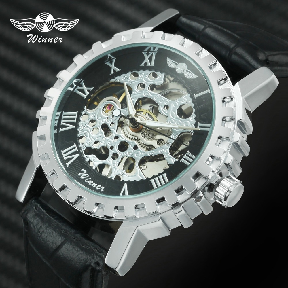 WINNER Fashion Casual Mechanical Watch Men Top Brand Luxury Leather Strap Roman Number Skeleton Creative Design Wristwatches