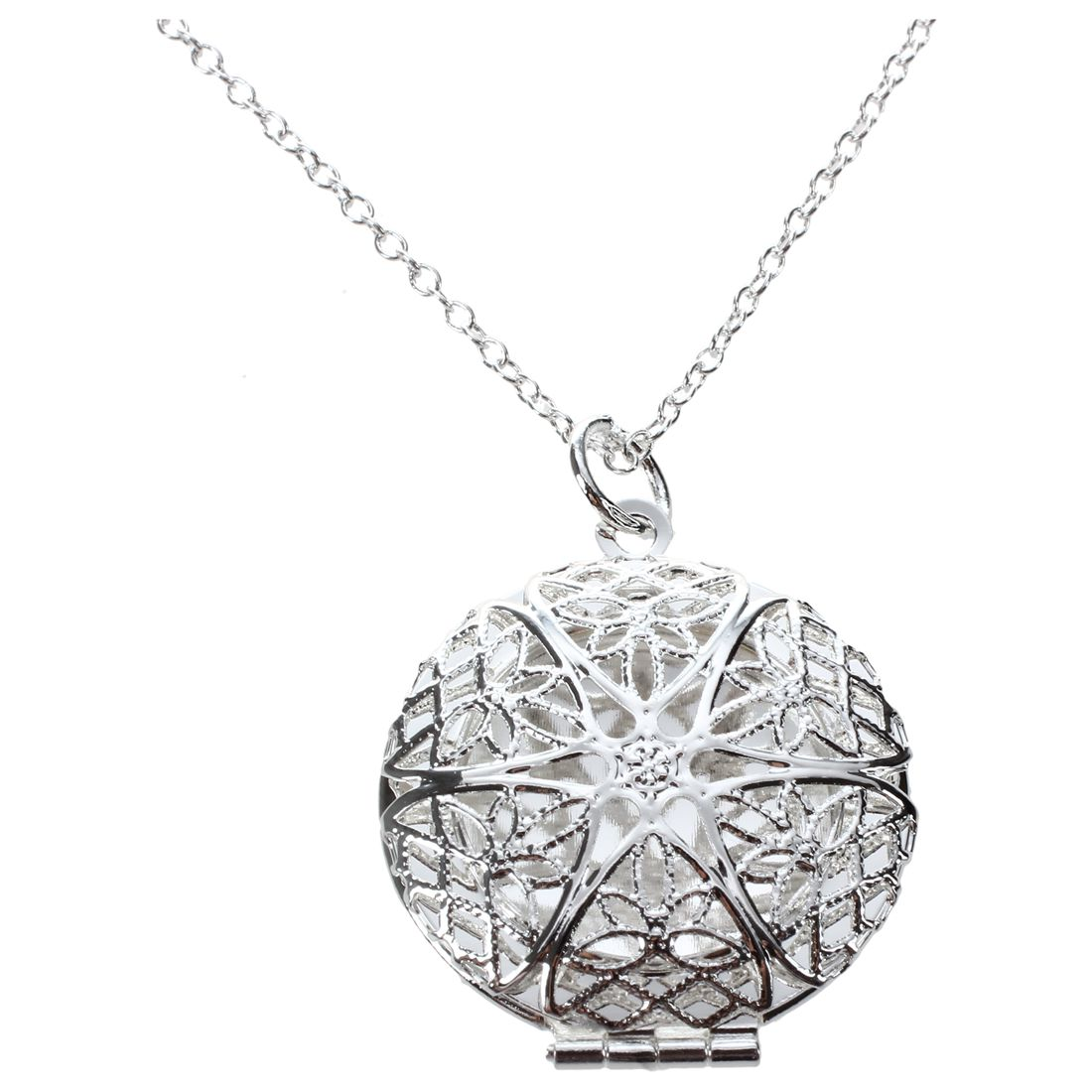 Womens Silver Hollow Flower Photo Frame Charms Pendant Chain Necklace font b Jewelry b font