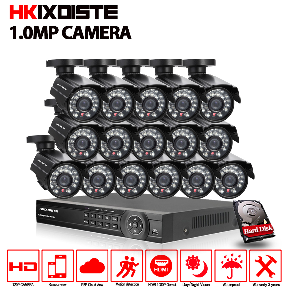 Security Camera System 16ch 1080P CCTV System 16x 720P CCTV Camera 1.0MP Camera Surveillance System Kit Camaras Seguridad Home ...