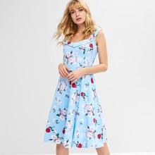 FEIBUSHI 50s vintage Dresses Women Rockabilly Floral Dress Retro Swing Casual A Line Party plus size