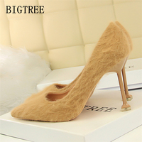 Winter Red High Heels Shoes Woman Luxury Brand Suede Pointed Toe Bigtree Shoes Rabbit Fur Sexy