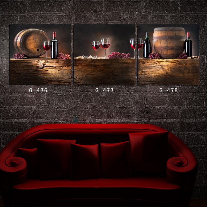 3 Piece Canvas Wall Art Red Wine Gles Painting Bar Dinning Room Set In Calligraphy From Home