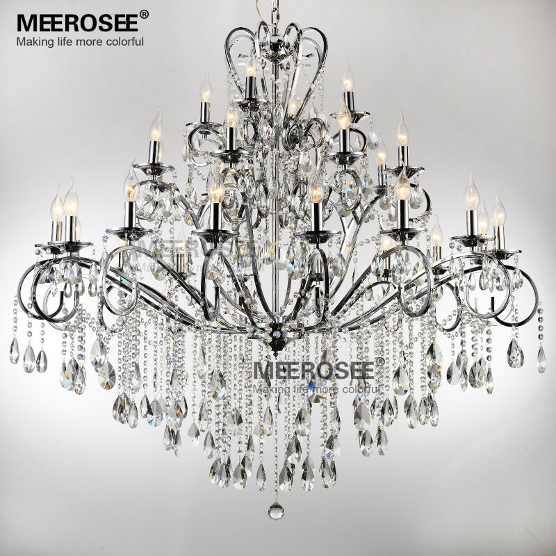 Large 28 Arms Wrought Iron Chandelier Crystal Light Fixture Chrome Re De Sala Hanging Lamp Mde51 L28 In Chandeliers From Lights Lighting On