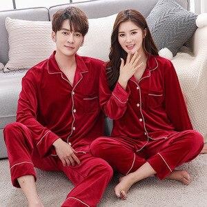 Image 3 - BZEL Warm Couple Pajamas Set Turn down Collar Long Sleeve Sleepwear Soft Leisure Pajama For Female Lovers Clothes Pijama Femme