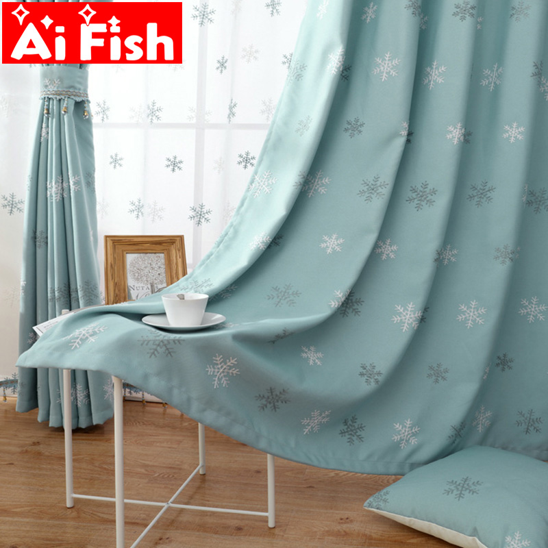 Modern Embroidery Cotton Linen Curtain Fabrics Christmas Blue Snowflake Thickening Curtains For Living Room Window Tulle MY096-4
