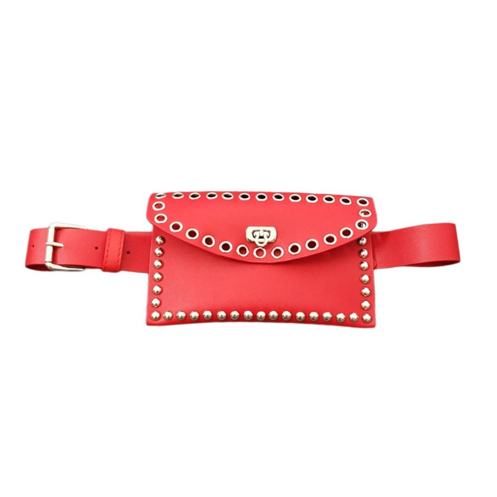 New Women Waist Bag Pack Female Rivet PU Leather Belt Bag Phone Pouch Bags Women Envelope Clutch Fanny Pack For Lady ZX367504