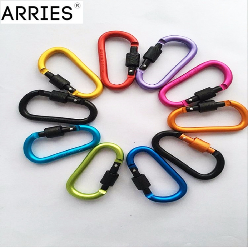 8cm Aluminum Alloy Carabiner D-Ring Key Chain Clip Multi-color Camping Keyring Snap Hook Outdoor Travel Kit Quickdraws