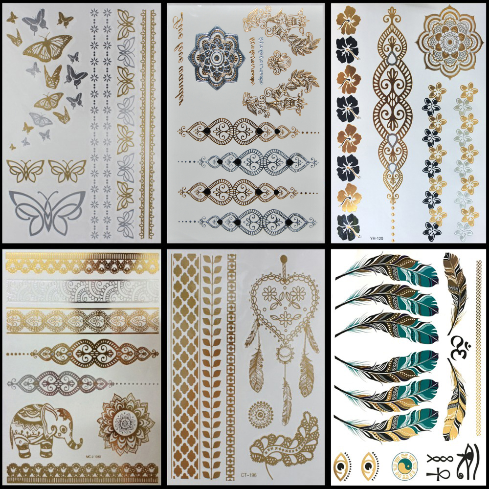 6 PCS/ lot Hot Flash Metallic Waterproof Temporary Tattoo