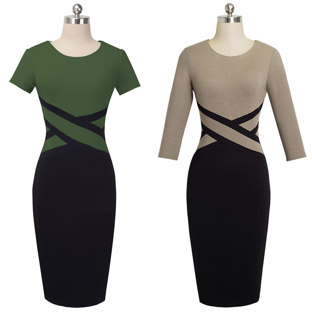 Nice-forever Vintage Elegant Contrast Color Patchwork Wear to Work vestidos Business Party Office Women Bodycon Dress B463 4