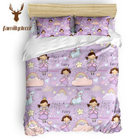 Familydecor Purple Fairy Princess Rainbow Unicorn 4 Pcs Comforter Cover Set Machine Washable All Bedroom Toddler Daybed Luxury