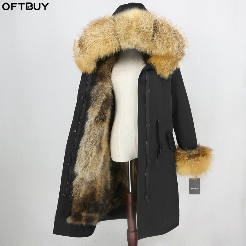 OFTBUY X-long Parka Waterproof Fabric Winter Jacket Women Real Fur Coat Natural Fox Fur Hood Cuffs Fox Fur Liner Detachable New