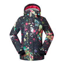 Modern Design Women Skiing Jackets Windproof Waterproof Breathable Cotton Print Girls Snowboarding Clothes