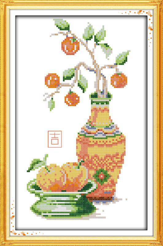 الفرح الأحد Z402Z403Z404 ديكور المنزل البرتقال لوتس الزهور التطريز diy عبر الابره مجموعات التطريز بالإبرة