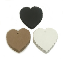 100pcs Heart Shaped Price Tags Kraft Paper DIY Gifts Tags For Wedding Christmas Party 6*5.5cm White Black Color