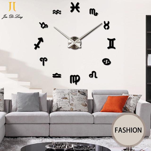 Large Mirror Wall Stickers Clock Living Room DIY Wall Clock ...