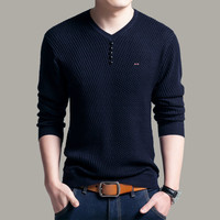 Solid Color Pullover Men V Neck Sweater Men Long Sleeve Shirt Mens Sweaters Wool Casual Dress eden park