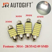 10 pces c5w conduziu a luz interior do carro canbus festoon 31/36/39/42mm lâmpadas led 12/24 v 28 35 42 49 smd 3014 dome luz de leitura lâmpada auto