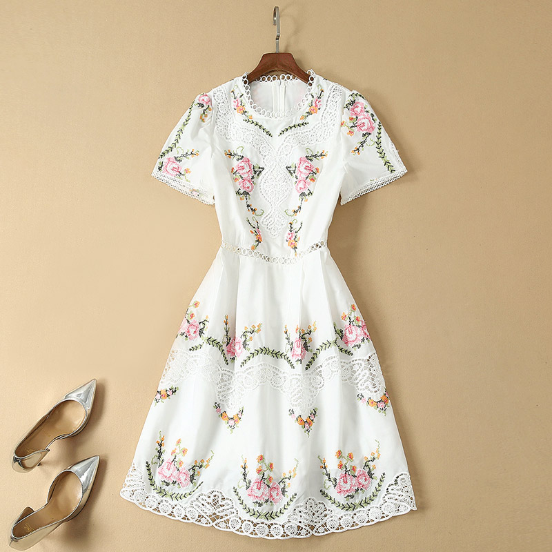 hollow out embroidery flower dress plus size clothing new fashion
