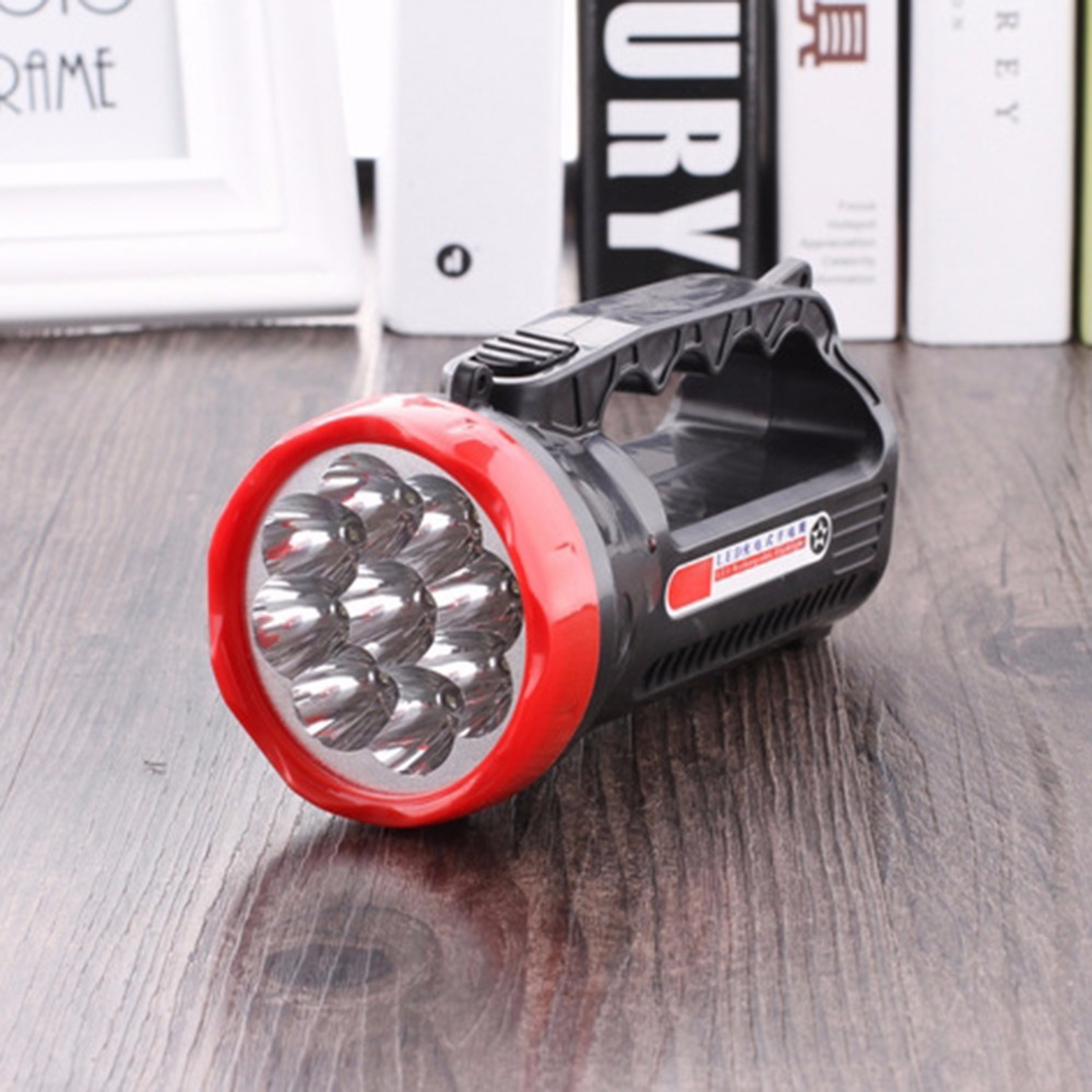 LED Outdoor Camping Hiking Super Bright Charging Portable Light Flashlight Torch Light Nine Lamp Head 1000mAH 2019 Top Sale