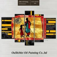 סין באיכות גבוהה מצויר ביד אמן אפריקה ציור שמן ציור שמן על הבד אפריקאי אמא וילד לסלון עיצוב חדר