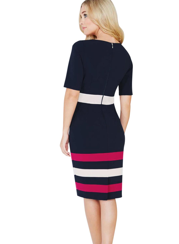 Oxiuly Dunkelblaues Kleid Tunika Frauen Formelle Arbeit Büro Scheide - Damenbekleidung - Foto 2
