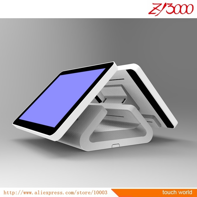 """All in one touch screen pc 15"""" double screen pos system touch screen standard pos terminals"""