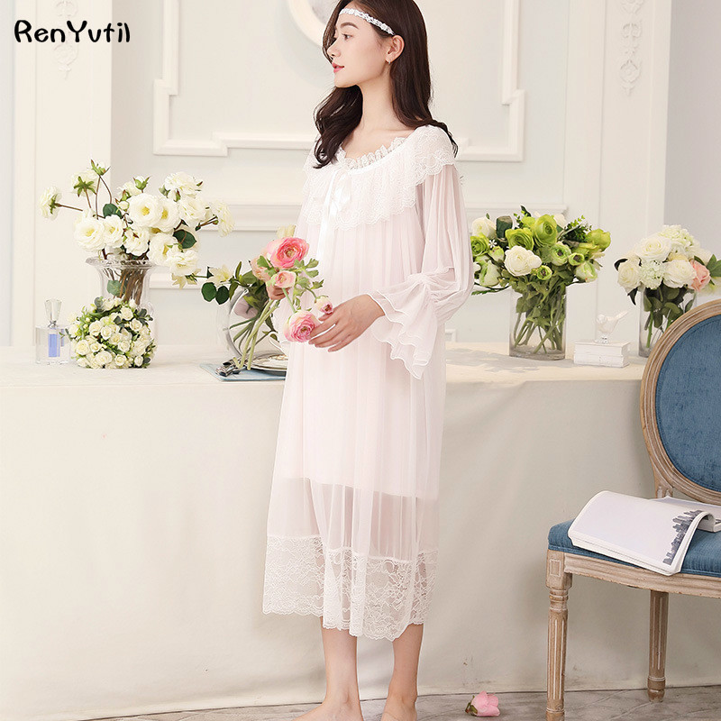 RenYvtil Princess Nightgown Women Summer Long-sleeved Layers Sleepwear Retro Translucent Lace Sress Sexy Ice Silk Nightwear