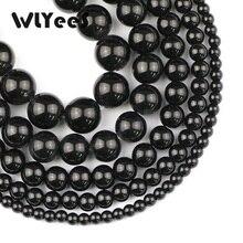 WLYeeS Factory price Black King Kong Stone Beads Natural Stone 4 6 8 10 12mm Round Loose Beads Jewelry Bracelet Making DIY 15
