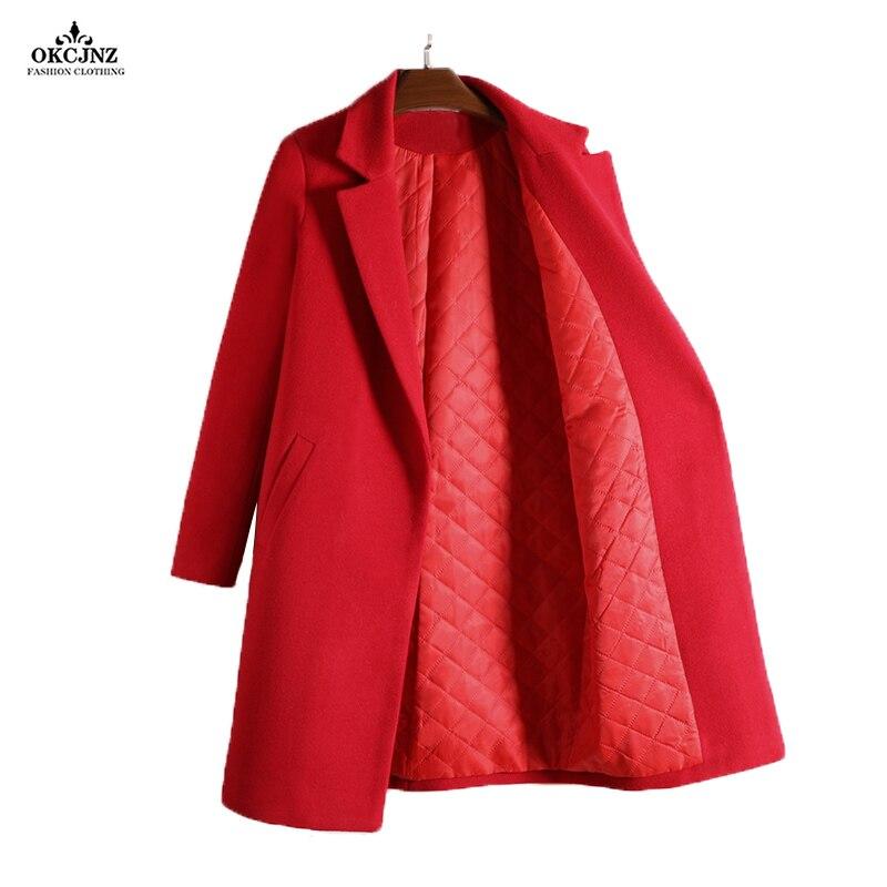 Plus la Taille 3XL Pardessus De Laine Pur Couleur Ouatée Survêtement 2017 nouvelle Vente Chaude Automne Hiver Épais Laine Chaude Mélanges Manteaux OK70T