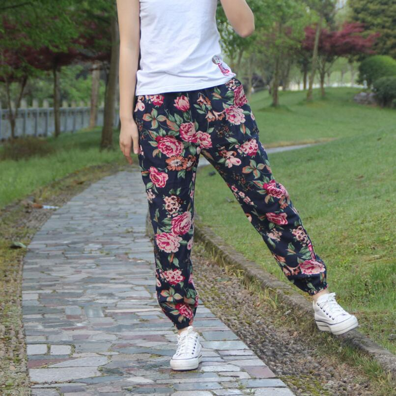 2018 Autumn Summer   Pants     Capris   Women's Cotton Linen Printed Casual   Pants   Elastic Waist Vintage bloomers   Pants   Women SK176