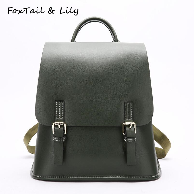 FoxTail & Lily Brand Women Korean School Backpacks Popular Preppy Style Genuine Leather Tote Shoulder Bag Casual Travel Backpack gianna meliani luxury туфли