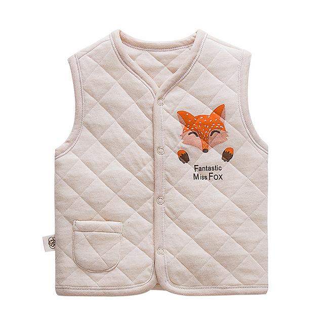 Nueva moda bebé recién nacido infantil niñas niños chaleco de algodón chaleco de algodón de color natural precioso fox printingkids clothing