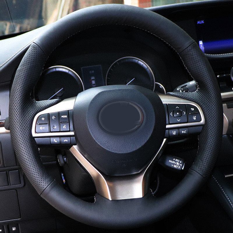 High Quality Cowhide Top Layer Leather Handmade Sewing Steering Wheel Cover Protect For Lexus ES200 250 300 <font><b>RX200</b></font> 300 450 image