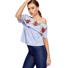 2017 simple Women Embroidered Shirt Short Sleeve Slash Neck Casual Blouse wholesale A0000