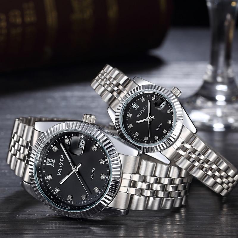 1 Pair Lover Watch Men Women 2019 Luxury Brand Waterproof Couples Watches Stainless Steel Quartz Watch Wristwatches Relogio Gift