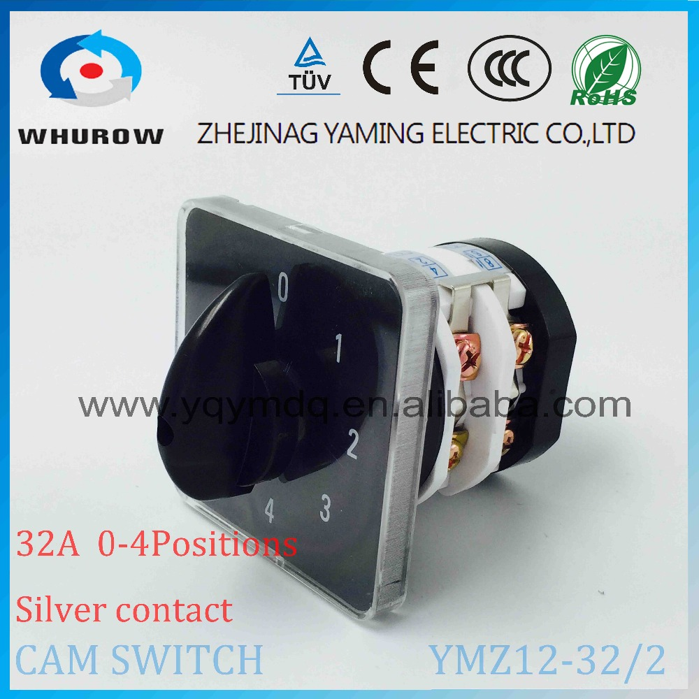 Rotary switch knob 5 position 0-4 YMZ12-32/2 universal combination manual electrical changeover cam switch 32A 690V 2 phases load circuit breaker switch ac ui 660v ith 100a on off 3 poles 3 phases 3no 2 position universal rotary cam changeover switch