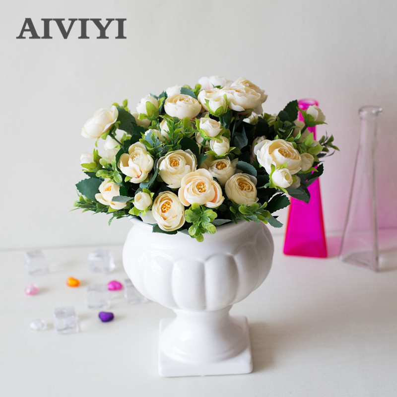 Artificial Plastic Branch Flower Wedding Home Decor Garden Artificial Plants Fake Plastic Milan Grass Foliage Plant Tree