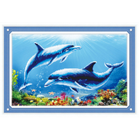 5D DIY Diamond Painting Cross Stitch Dolphin Animals Mosaic Pattern Hobbies And Crafts Home Decor Gifts