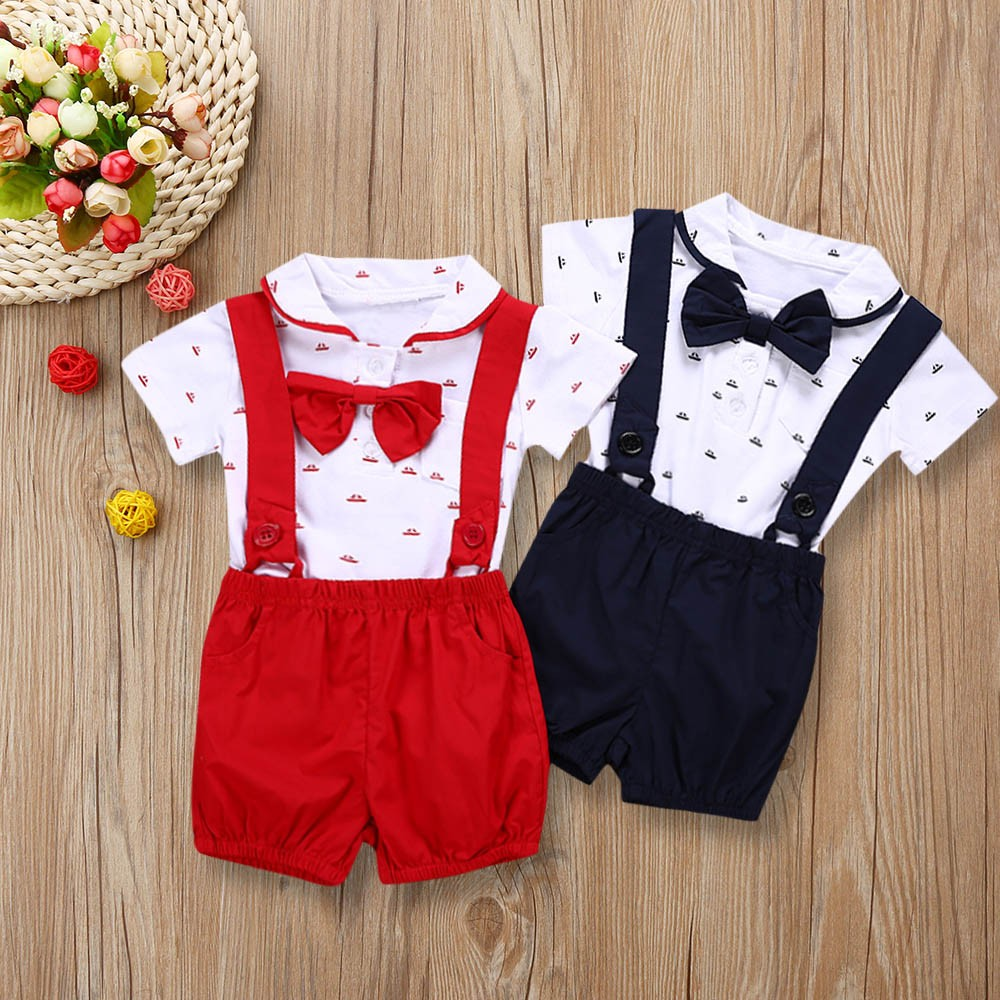 Kids Suspender Christening Birthday Gentleman Newborn Jumpsuit Baby Boy Baptism For Rompers